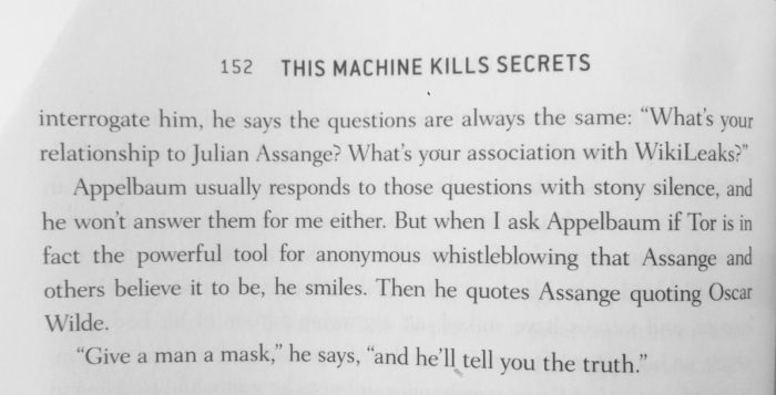 quote, andy greenberg, this machine kills secrets, he says the questions